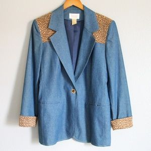 Vintage Da-Rue Denim Leopard Cotton Blazer 6